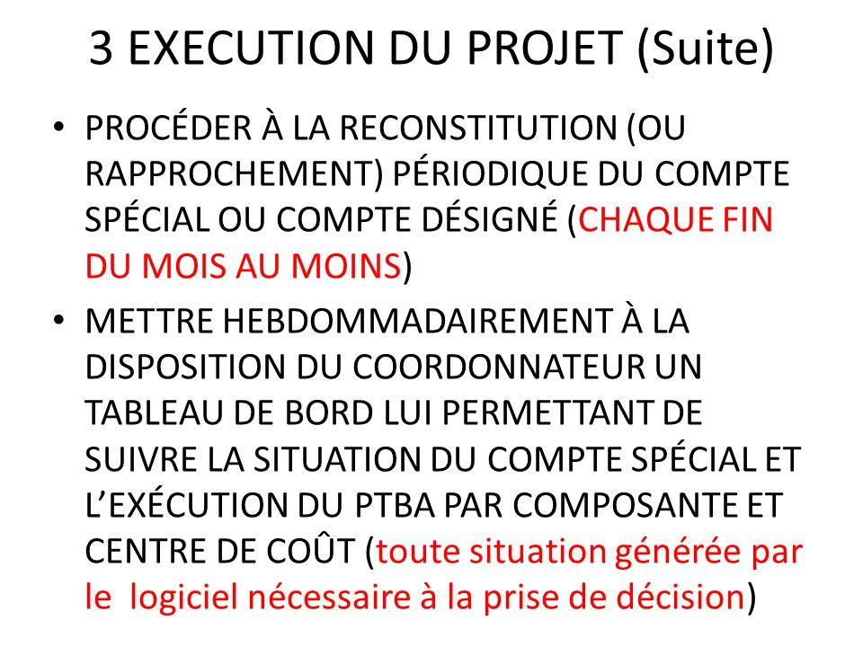 3 EXECUTION DU PROJET (Suite) PROCÉDER À LA RECONSTITUTION (OU RAPPROCHEMENT) PÉRIODIQUE DU COMPTE SPÉCIAL OU COMPTE DÉSIGNÉ (CHAQUE FIN DU MOIS AU MO