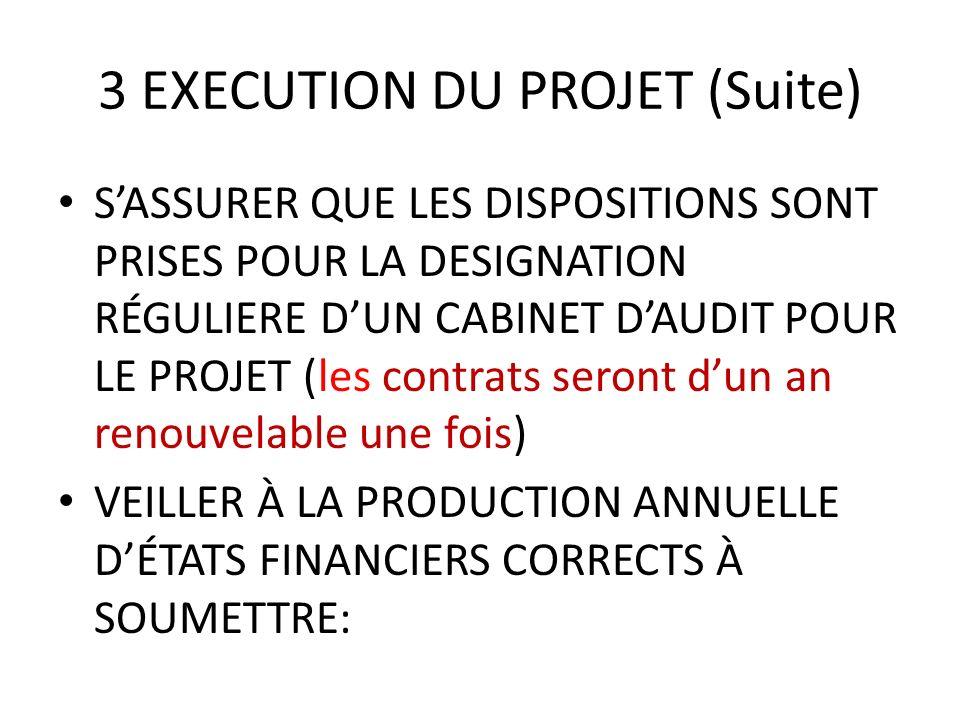 3 EXECUTION DU PROJET (Suite) SASSURER QUE LES DISPOSITIONS SONT PRISES POUR LA DESIGNATION RÉGULIERE DUN CABINET DAUDIT POUR LE PROJET (les contrats