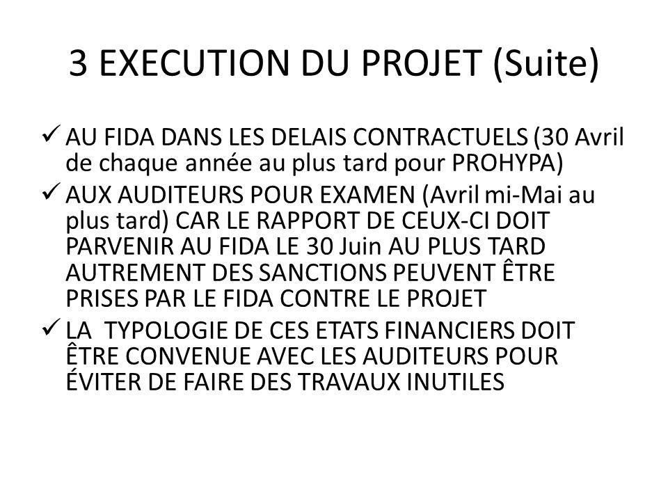 3 EXECUTION DU PROJET (Suite) AU FIDA DANS LES DELAIS CONTRACTUELS (30 Avril de chaque année au plus tard pour PROHYPA) AUX AUDITEURS POUR EXAMEN (Avr