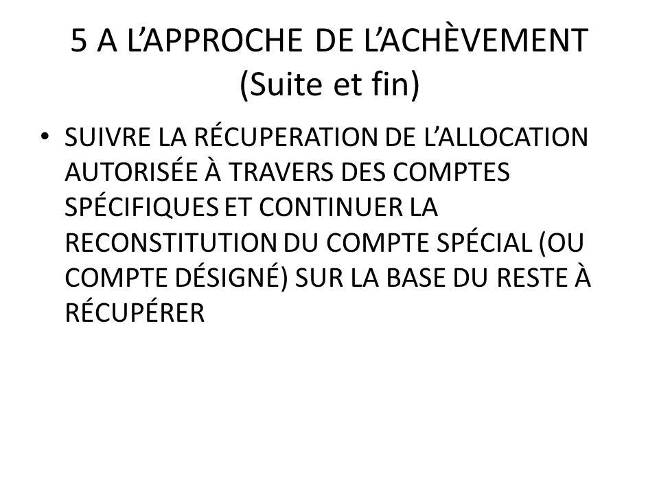 5 A LAPPROCHE DE LACHÈVEMENT (Suite et fin) SUIVRE LA RÉCUPERATION DE LALLOCATION AUTORISÉE À TRAVERS DES COMPTES SPÉCIFIQUES ET CONTINUER LA RECONSTI