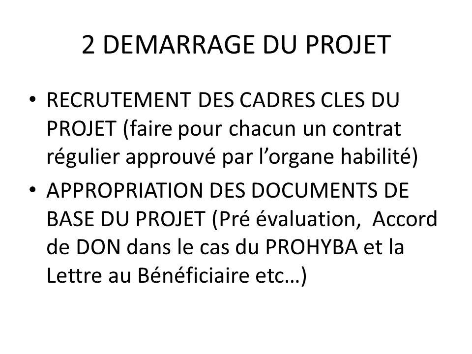 2 DEMARRAGE DU PROJET RECRUTEMENT DES CADRES CLES DU PROJET (faire pour chacun un contrat régulier approuvé par lorgane habilité) APPROPRIATION DES DO