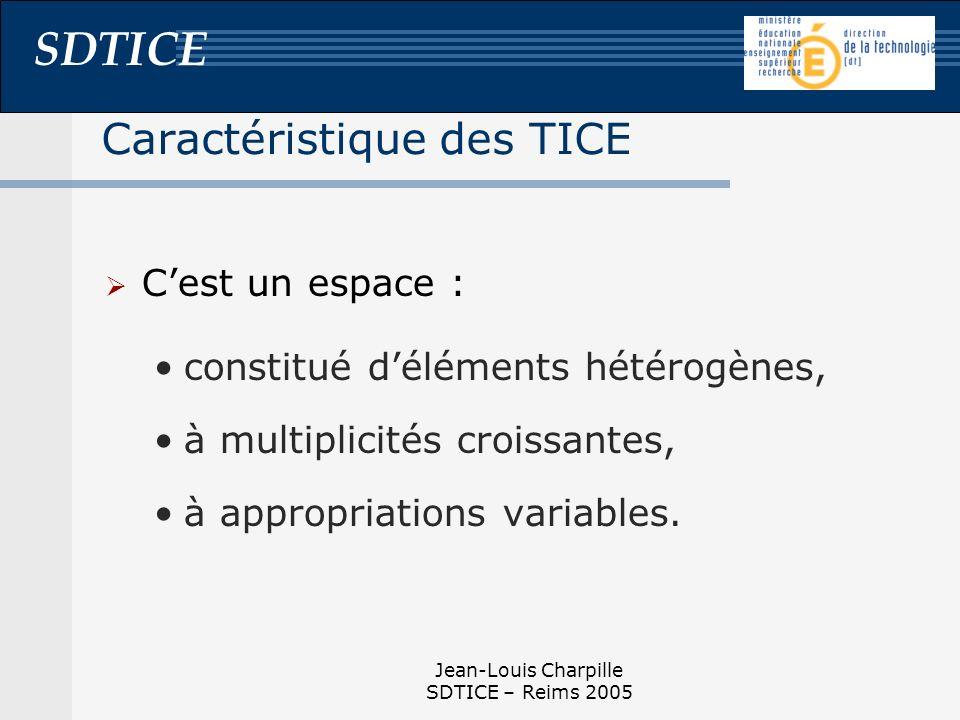 SDTICE Jean-Louis Charpille SDTICE – Reims 2005 Caractéristique des TICE Cest un espace : constitué déléments hétérogènes, à multiplicités croissantes