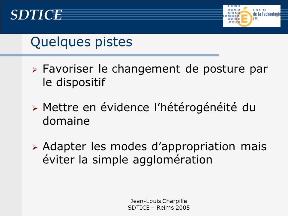 SDTICE Jean-Louis Charpille SDTICE – Reims 2005 Quelques pistes Favoriser le changement de posture par le dispositif Mettre en évidence lhétérogénéité