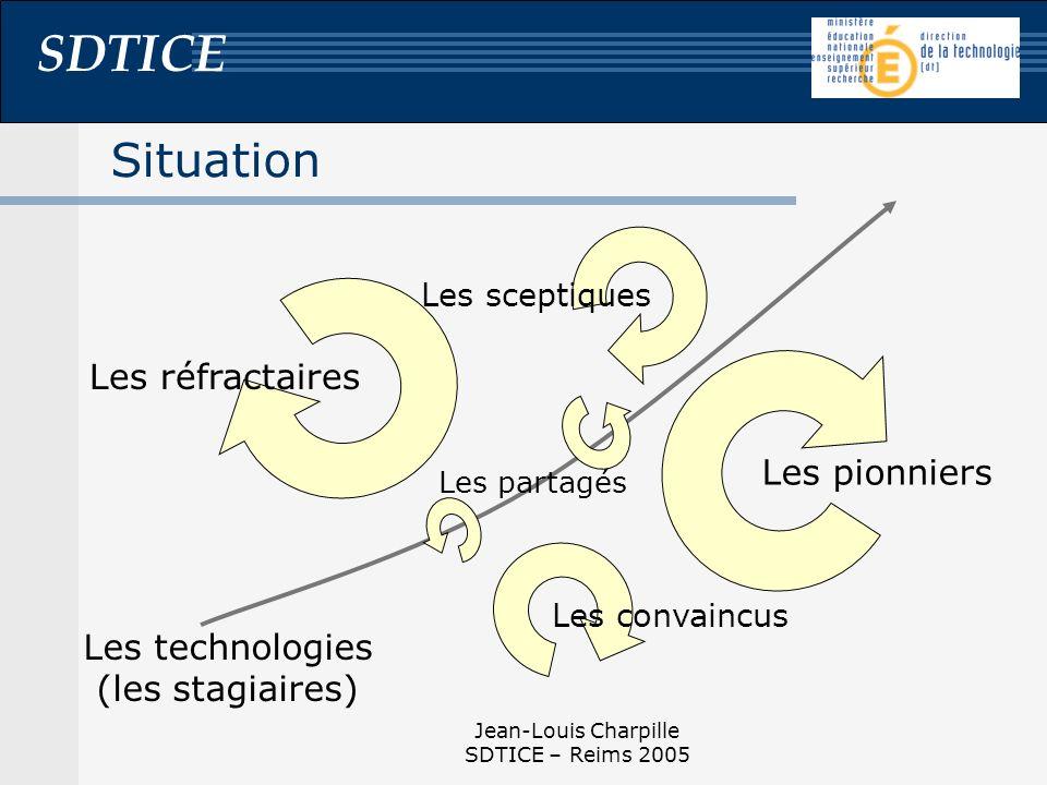 SDTICE Jean-Louis Charpille SDTICE – Reims 2005 Situation Les technologies (les stagiaires) Les réfractaires Les pionniers Les partagés Les convaincus