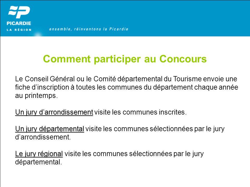 Comment participer au Concours Le Conseil Général ou le Comité départemental du Tourisme envoie une fiche dinscription à toutes les communes du départ