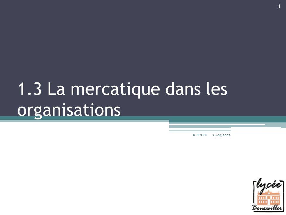 Plan du cours 1.31 Dans les entreprises Lévolution de la place du marketing 1.32 La généralisation de la démarche mercatique « le marketing omniprésent » 11/09/2007R.GROSS 2