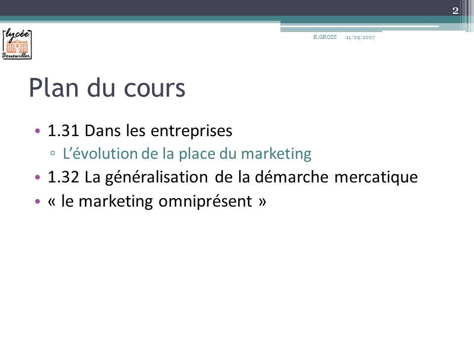 1.31 Dans les entreprises La mercatique occupe une place croissante au sein de la structure des entreprises.