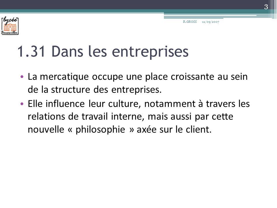 a) Lévolution de la place du marketing 4 R.GROSS11/09/2007 Source :Marketing Management, Kotler&Dubois, 11°ed, page 31.