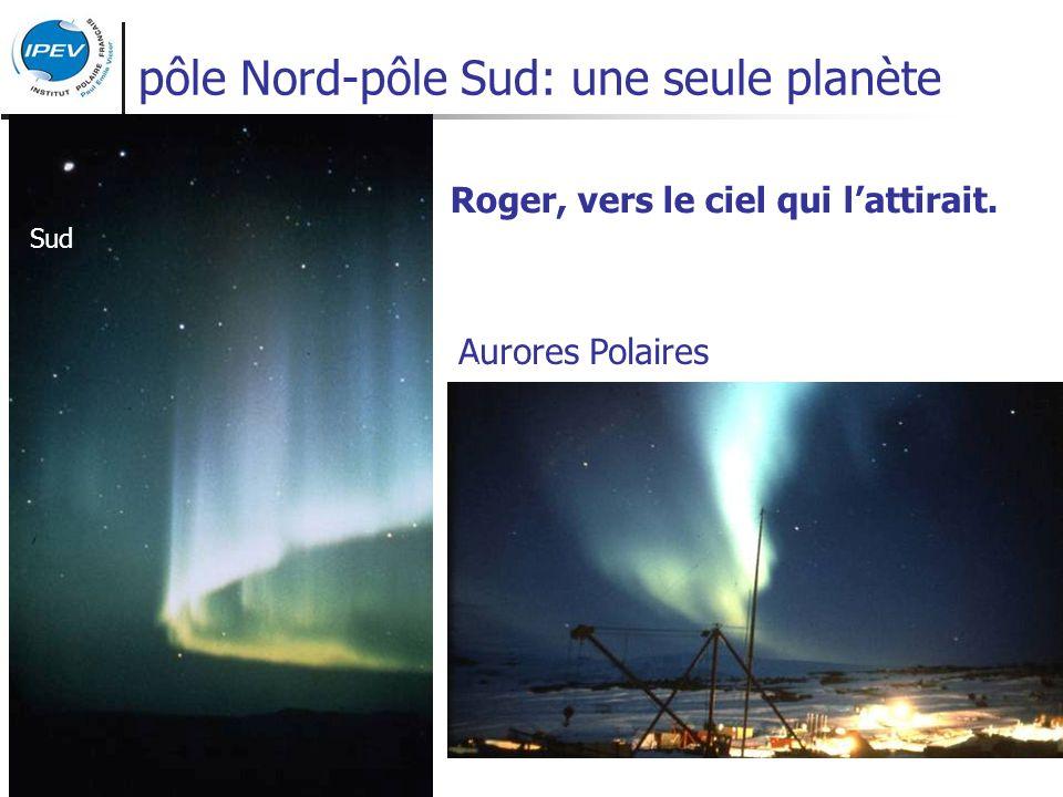 pôle Nord-pôle Sud: une seule planète Roger, vers le ciel qui lattirait. Aurores Polaires Sud Nord