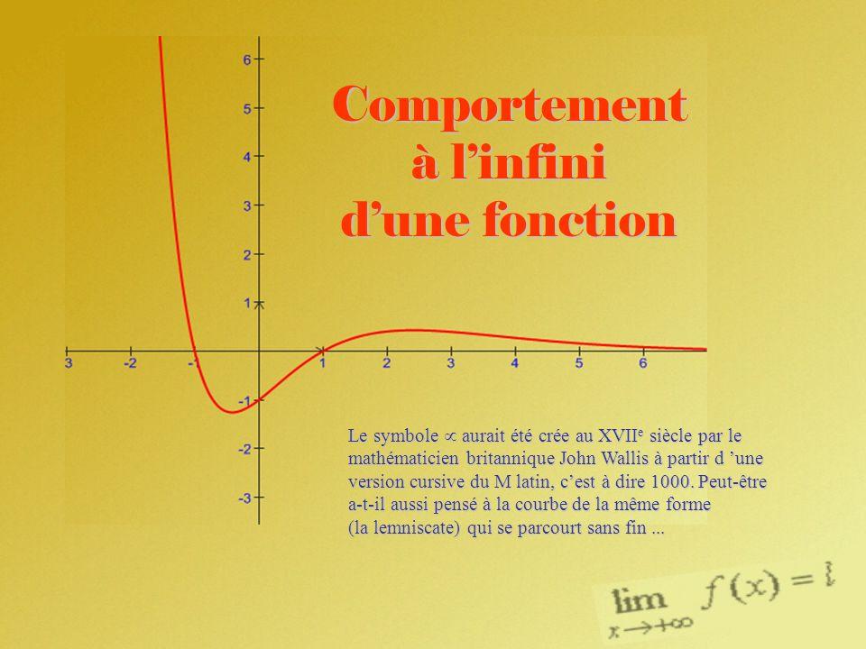 Comportement à linfini dune fonction Le symbole aurait été crée au XVII e siècle par le mathématicien britannique John Wallis à partir d une version c