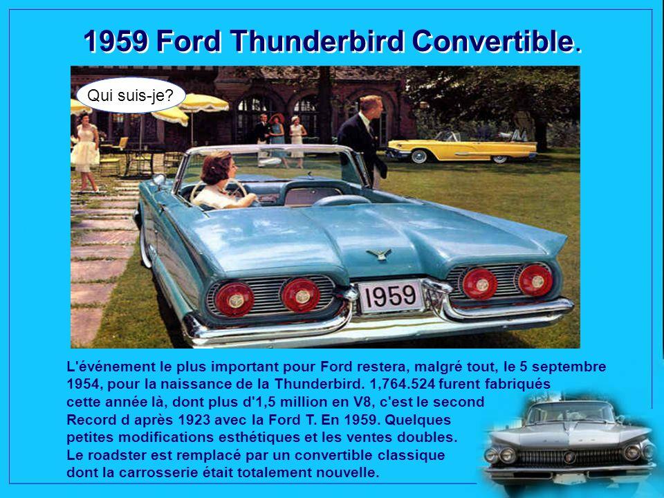 1959 Chevrolet Impala. Qui suis-je? La Chevrolet Impala est une automobile développée et construite par la division Chevrolet de GM. Lingénieur en che
