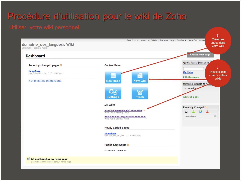 Procédure dutilisation pour le wiki de Zoho Utiliser votre wiki personnel 6. Créer des pages dans votre wiki 7. Possibilité de créer 2 autres wikis