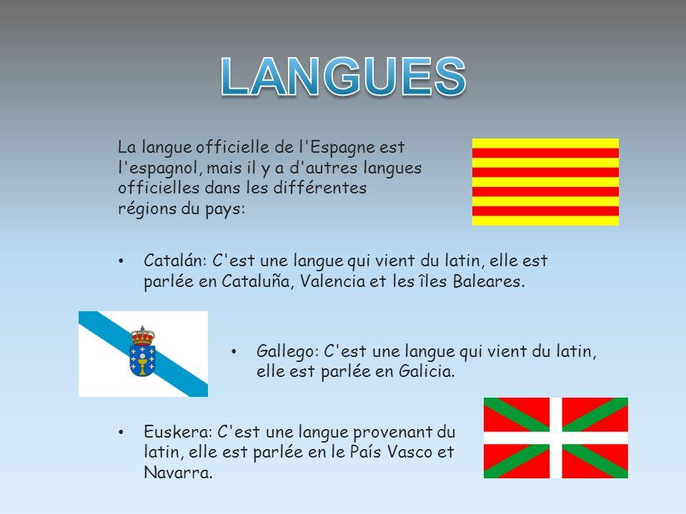 La langue officielle de l'Espagne est l'espagnol, mais il y a d'autres langues officielles dans les différentes régions du pays: Euskera: C'est une la