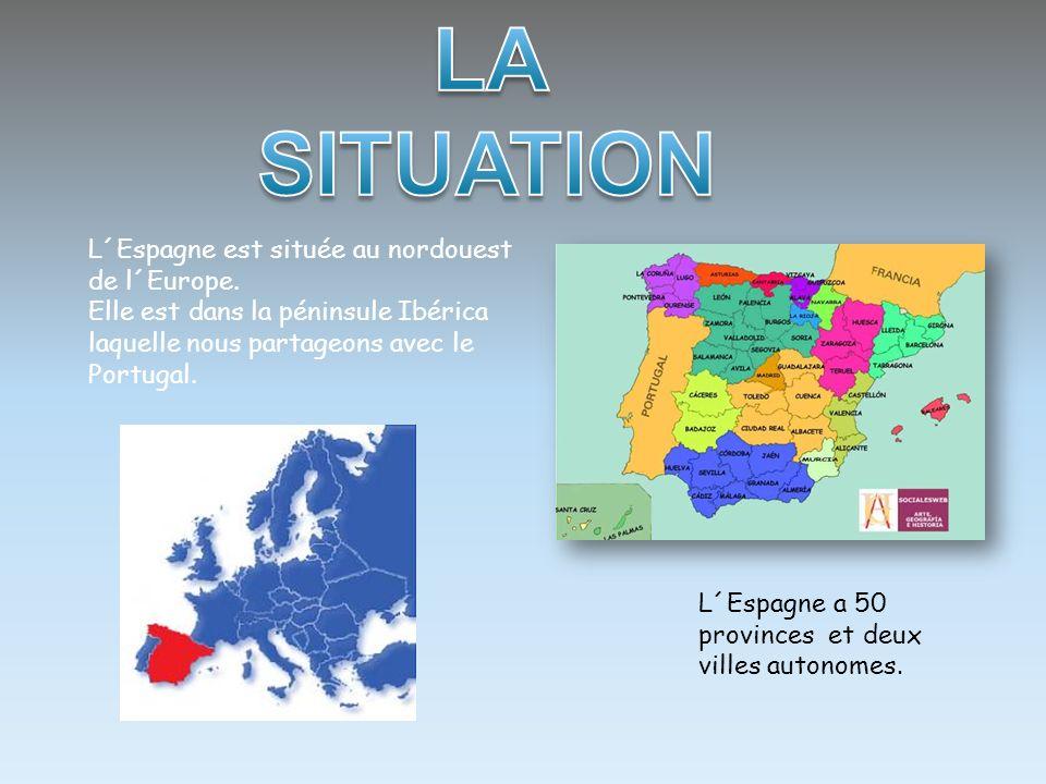 L´Espagne est située au nordouest de l´Europe. Elle est dans la péninsule Ibérica laquelle nous partageons avec le Portugal. L´Espagne a 50 provinces