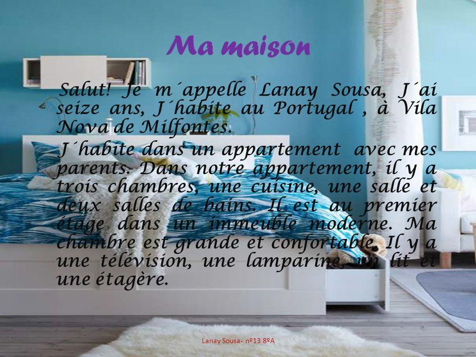 Ma maison Salut! Je m´appelle Lanay Sousa, J´ai seize ans, J´habite au Portugal, à Vila Nova de Milfontes. J´habite dans un appartement avec mes paren