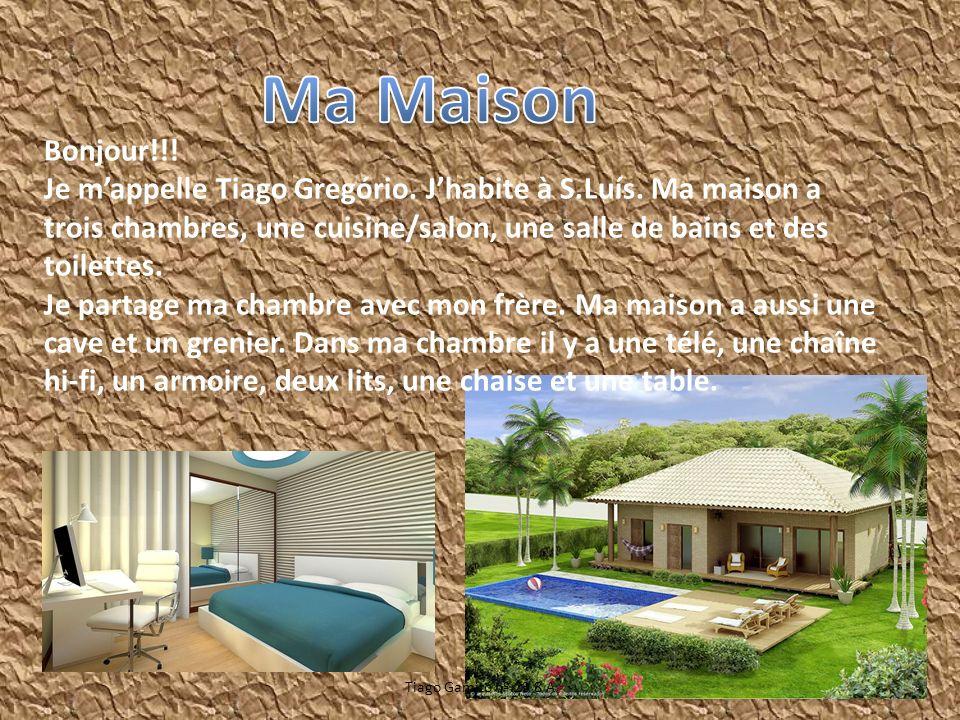 Bonjour!!! Je mappelle Tiago Gregório. Jhabite à S.Luís. Ma maison a trois chambres, une cuisine/salon, une salle de bains et des toilettes. Je partag