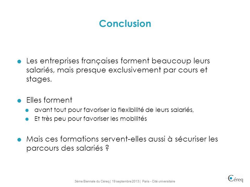 Conclusion Les entreprises françaises forment beaucoup leurs salariés, mais presque exclusivement par cours et stages. Elles forment avant tout pour f