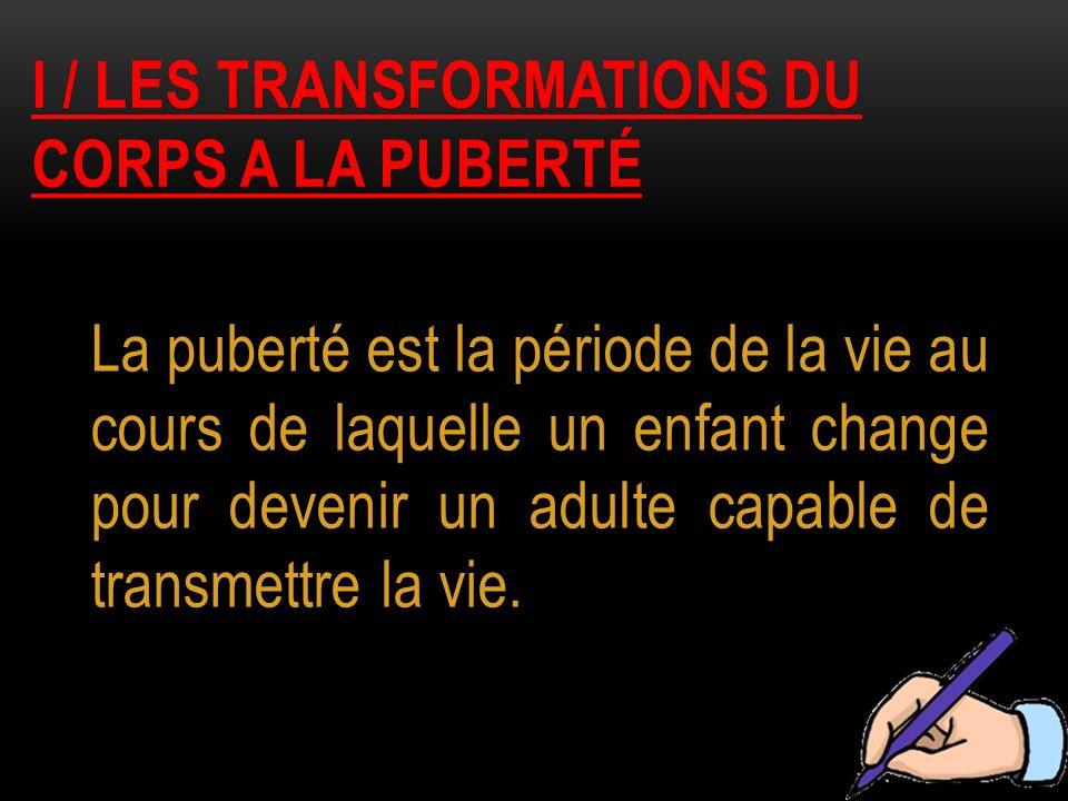 I / LES TRANSFORMATIONS DU CORPS A LA PUBERTÉ La puberté est la période de la vie au cours de laquelle un enfant change pour devenir un adulte capable