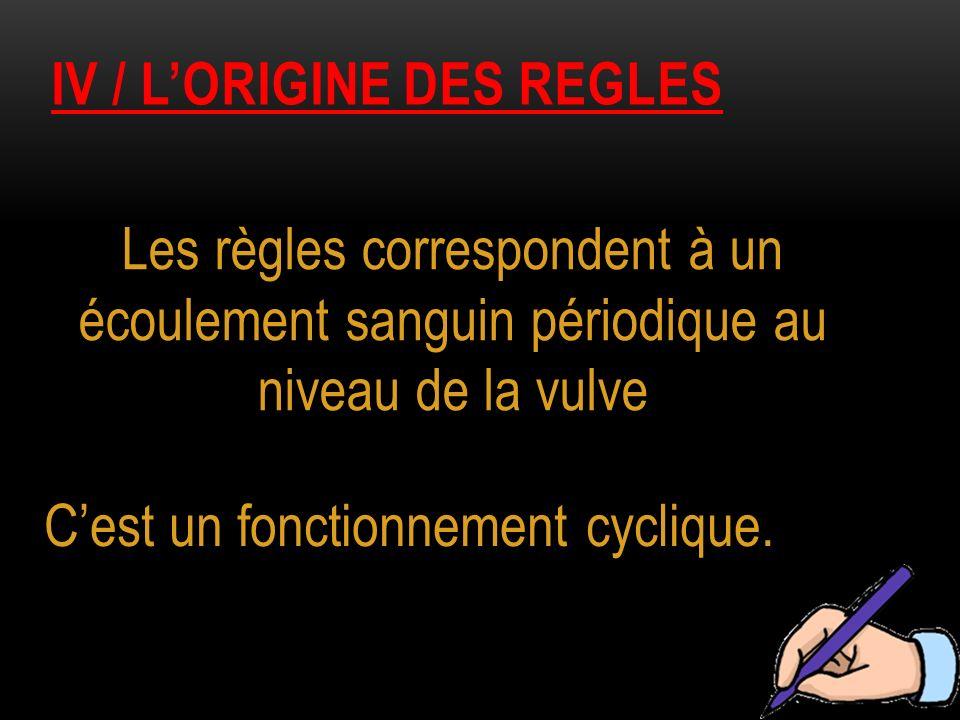 IV / LORIGINE DES REGLES Les règles correspondent à un écoulement sanguin périodique au niveau de la vulve Cest un fonctionnement cyclique.
