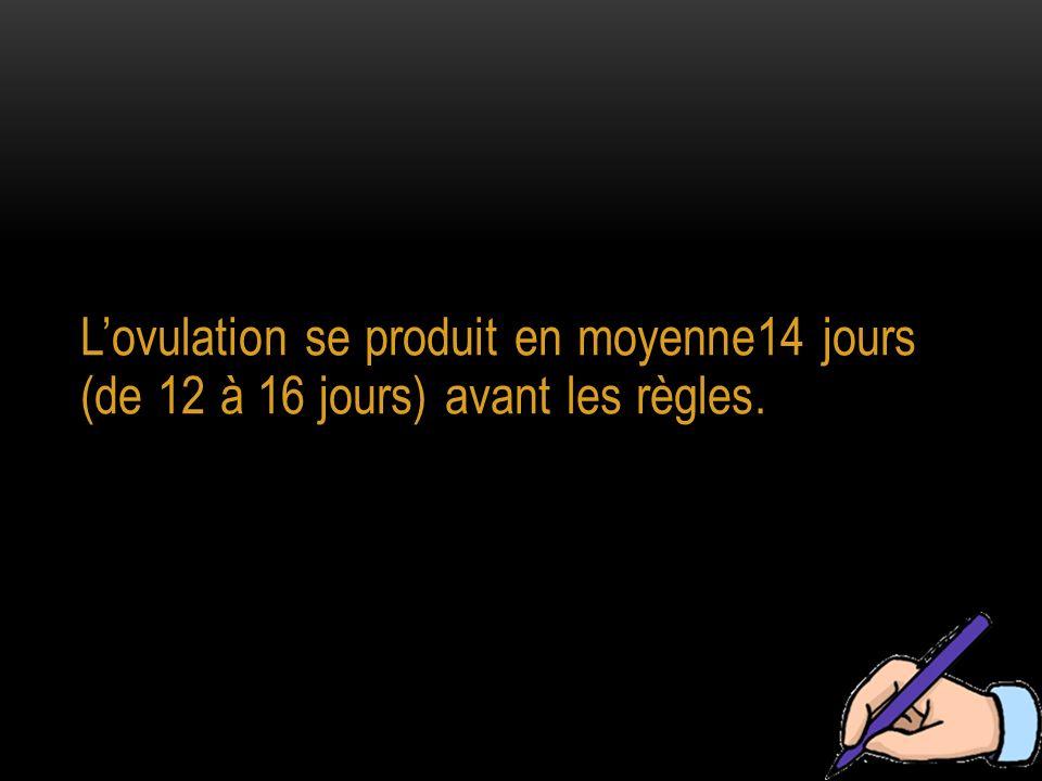 Lovulation se produit en moyenne14 jours (de 12 à 16 jours) avant les règles.