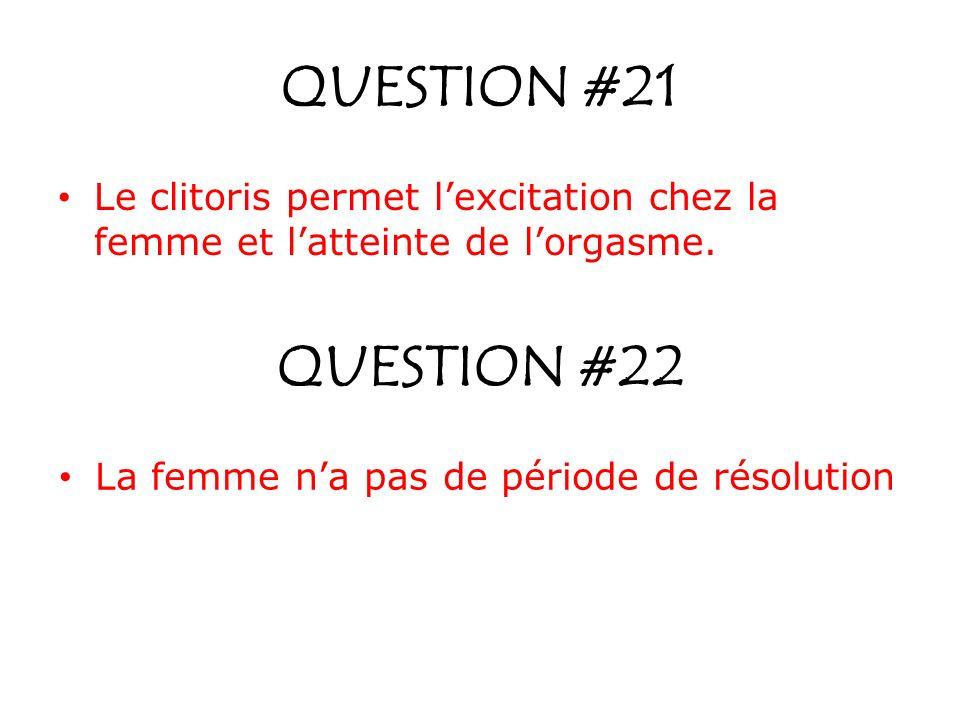 QUESTION #21 Le clitoris permet lexcitation chez la femme et latteinte de lorgasme. QUESTION #22 La femme na pas de période de résolution