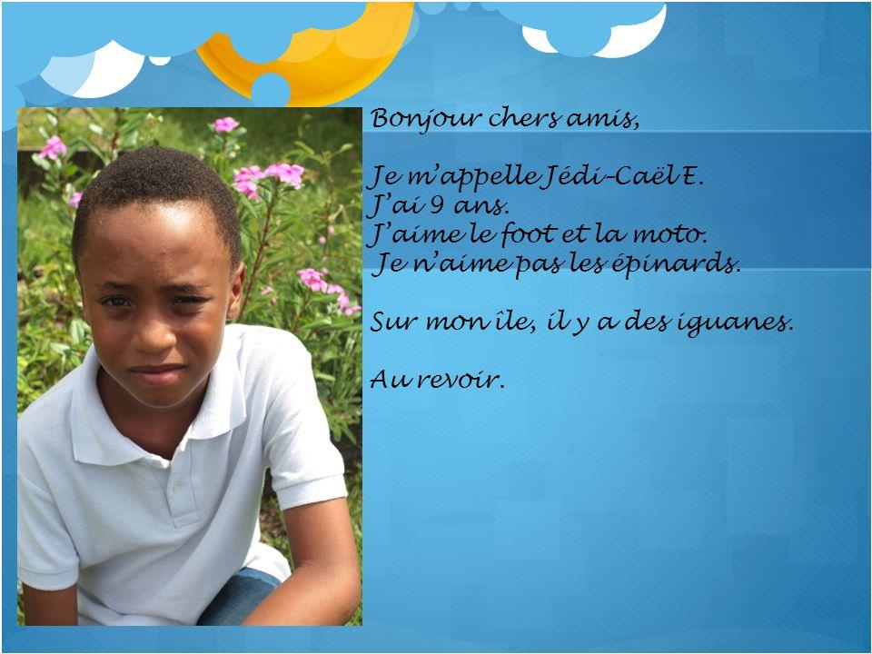 Bonjour chers amis, Je mappelle Jédi–Caël E. Jai 9 ans. Jaime le foot et la moto. Je naime pas les épinards. Sur mon île, il y a des iguanes. Au revoi