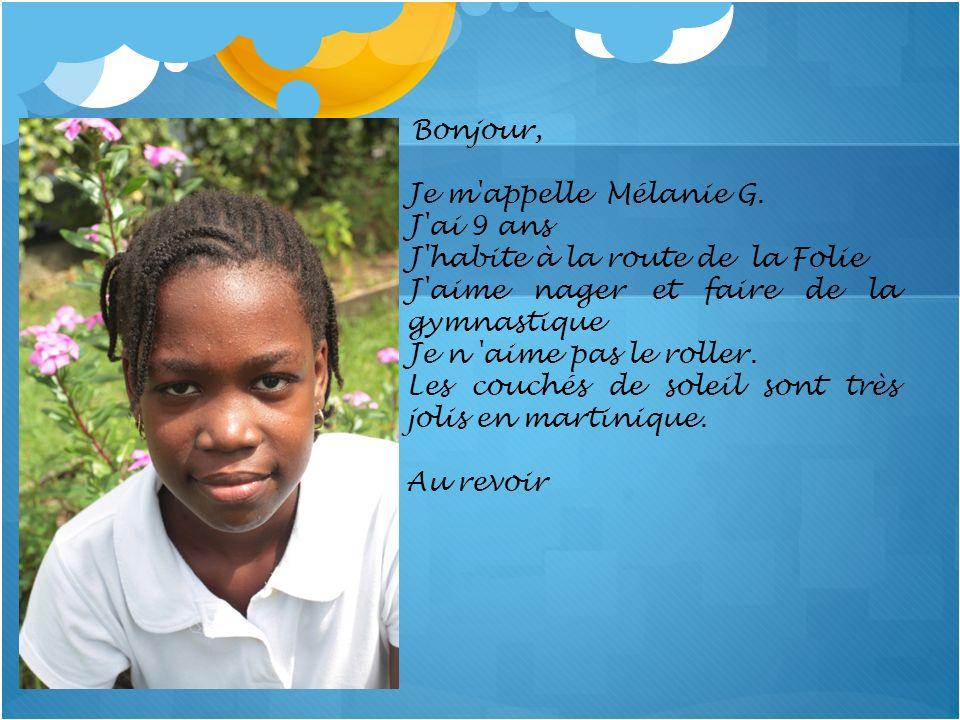 Bonjour, Je m'appelle Mélanie G. J'ai 9 ans J'habite à la route de la Folie J'aime nager et faire de la gymnastique Je n 'aime pas le roller. Les couc