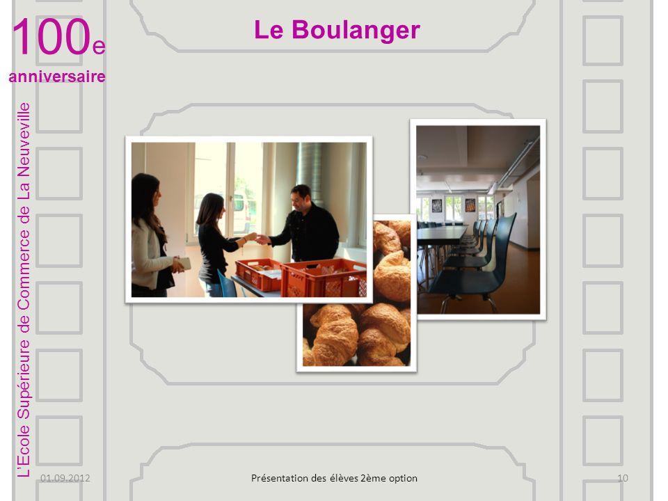 LEcole Supérieure de Commerce de La Neuveville 100 e anniversaire 01.09.2012Présentation des élèves 2ème option 9 On vous présente les …fumeurs