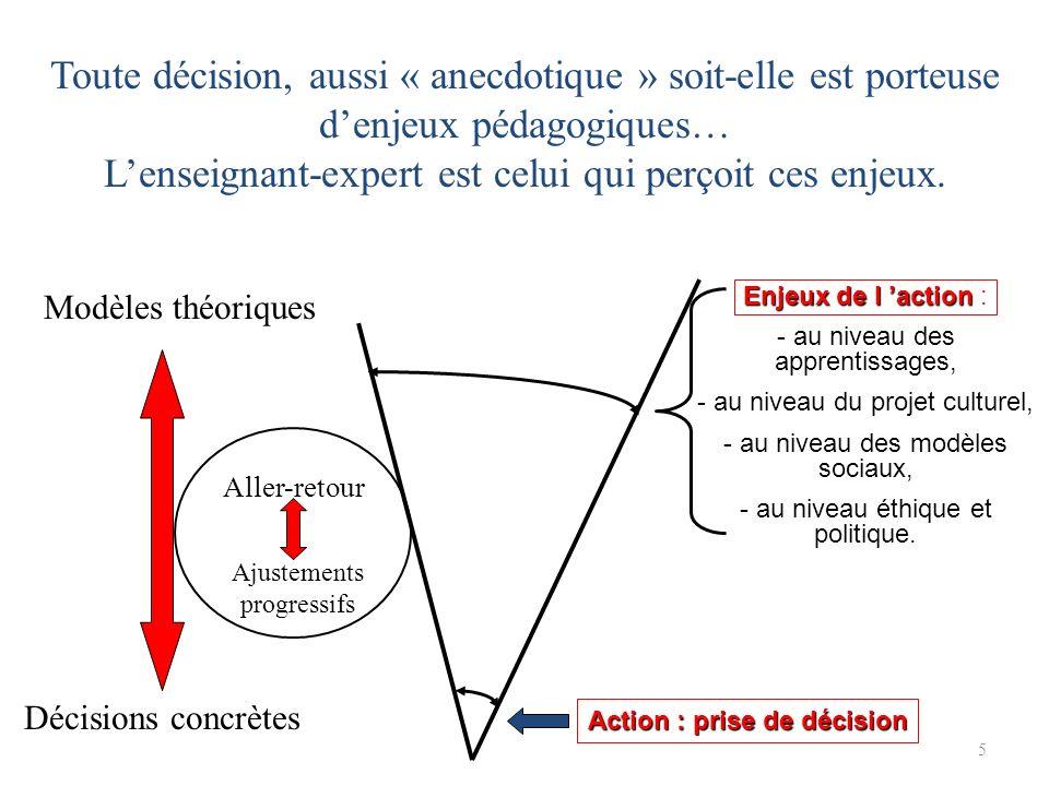 5 Action : prise de décision Enjeux de l action Enjeux de l action : - au niveau des apprentissages, - au niveau du projet culturel, - au niveau des modèles sociaux, - au niveau éthique et politique.