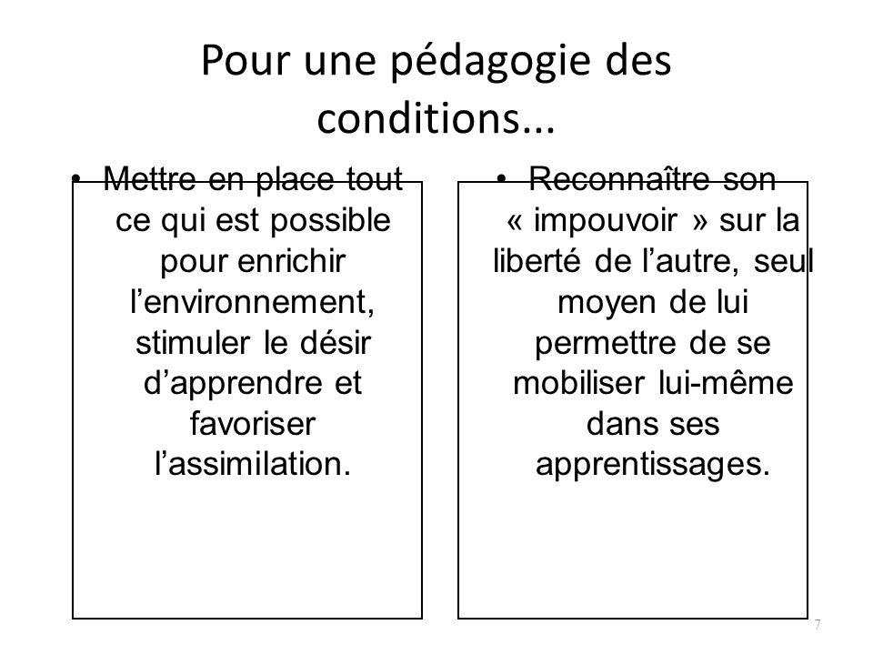 Pour une pédagogie des conditions...