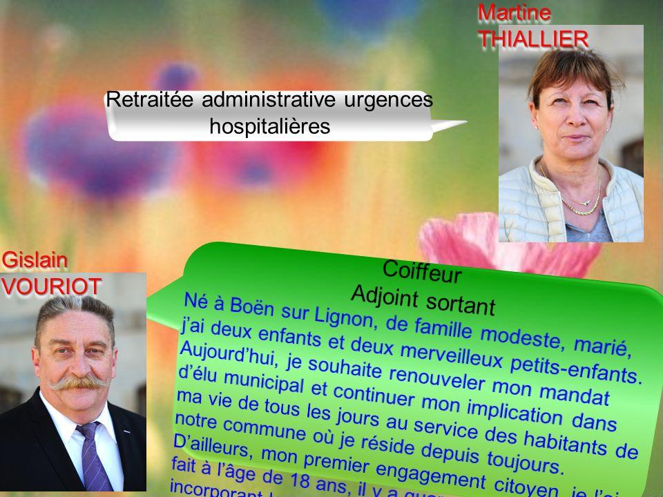 Retraitée administrative urgences hospitalières Gislain VOURIOT Martine THIALLIER