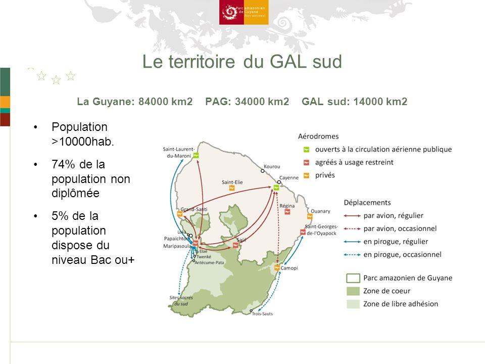 Le territoire du GAL sud La Guyane: 84000 km2 PAG: 34000 km2 GAL sud: 14000 km2 Population >10000hab.