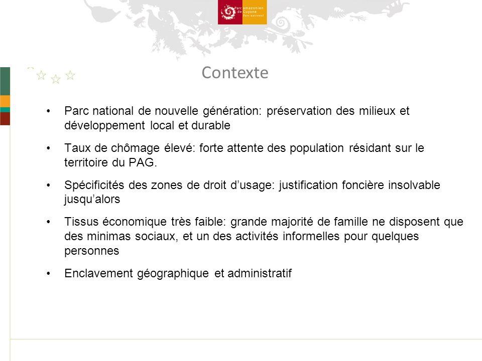 Parc national de nouvelle génération: préservation des milieux et développement local et durable Taux de chômage élevé: forte attente des population résidant sur le territoire du PAG.