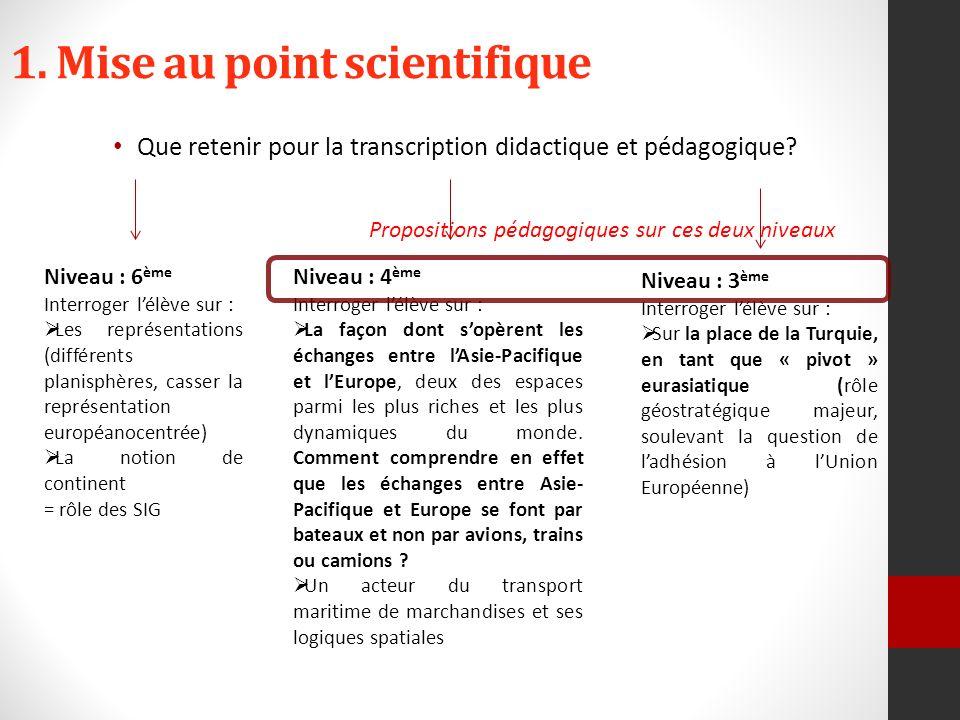 1. Mise au point scientifique Que retenir pour la transcription didactique et pédagogique.
