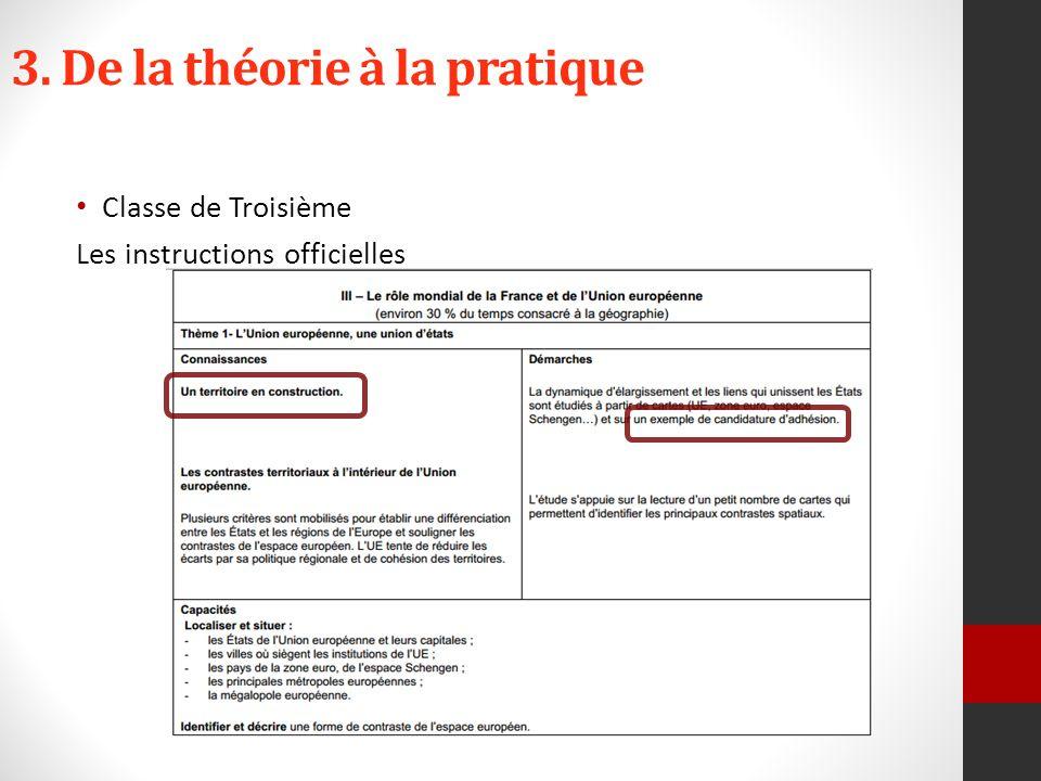 3. De la théorie à la pratique Classe de Troisième Les instructions officielles