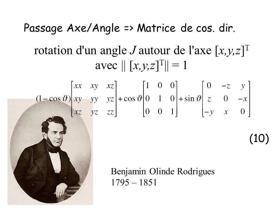 Passage Axe/Angle => Matrice de cos. dir. (10) rotation d'un angle J autour de l'axe [x,y,z] T avec || [x,y,z] T || = 1 Benjamin Olinde Rodrigues 1795