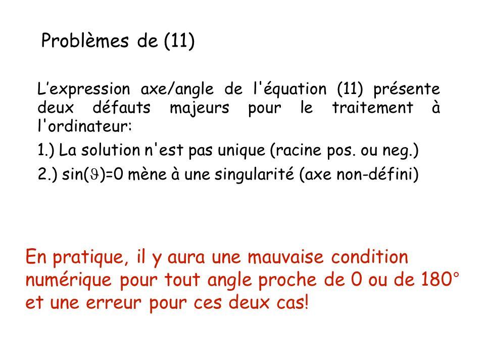 Problèmes de (11) En pratique, il y aura une mauvaise condition numérique pour tout angle proche de 0 ou de 180° et une erreur pour ces deux cas! Lexp