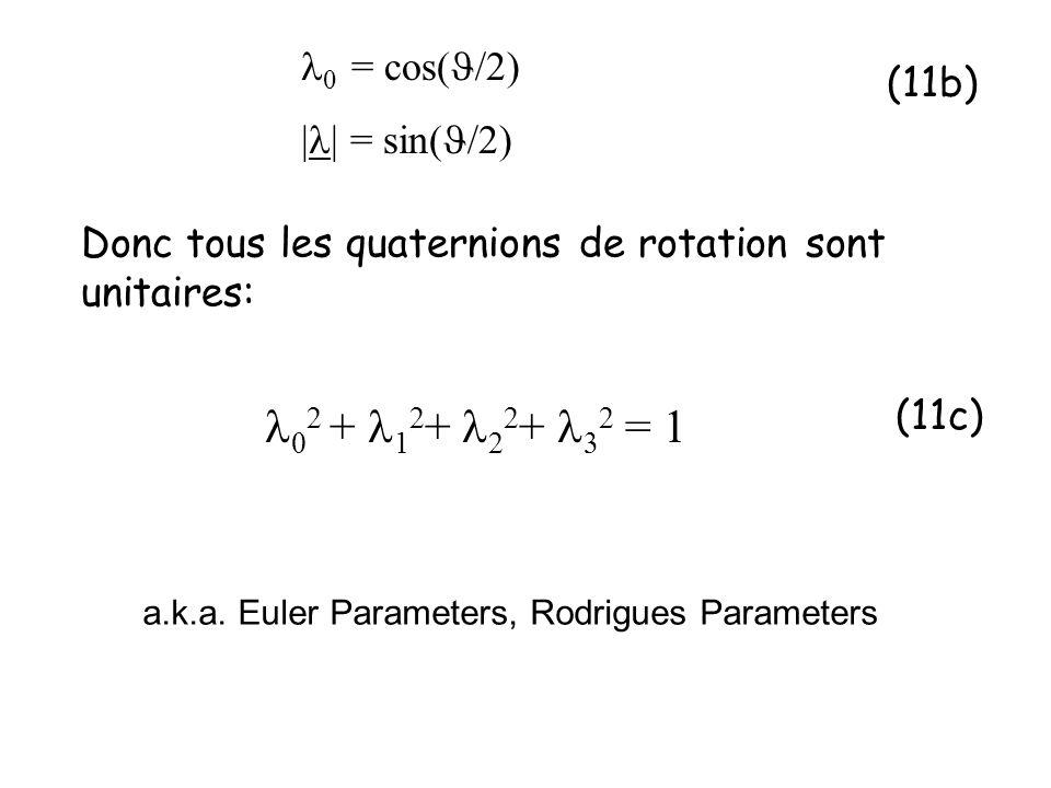Donc tous les quaternions de rotation sont unitaires: 0 = cos( /2) | | = sin( /2) 0 2 + 1 2 + 2 2 + 2 = 1 (11b) (11c) a.k.a. Euler Parameters, Rodrigu