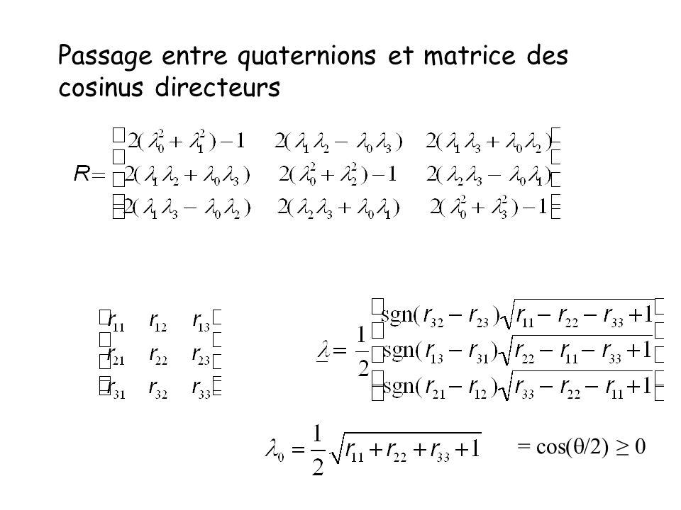Passage entre quaternions et matrice des cosinus directeurs = cos( /2) 0