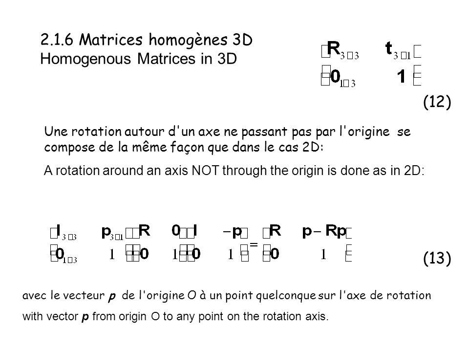 2.1.6 Matrices homogènes 3D Homogenous Matrices in 3D Une rotation autour d'un axe ne passant pas par l'origine se compose de la même façon que dans l
