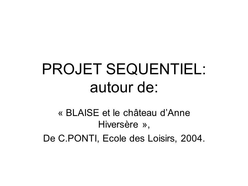 PROJET SEQUENTIEL: autour de: « BLAISE et le château dAnne Hiversère », De C.PONTI, Ecole des Loisirs, 2004.