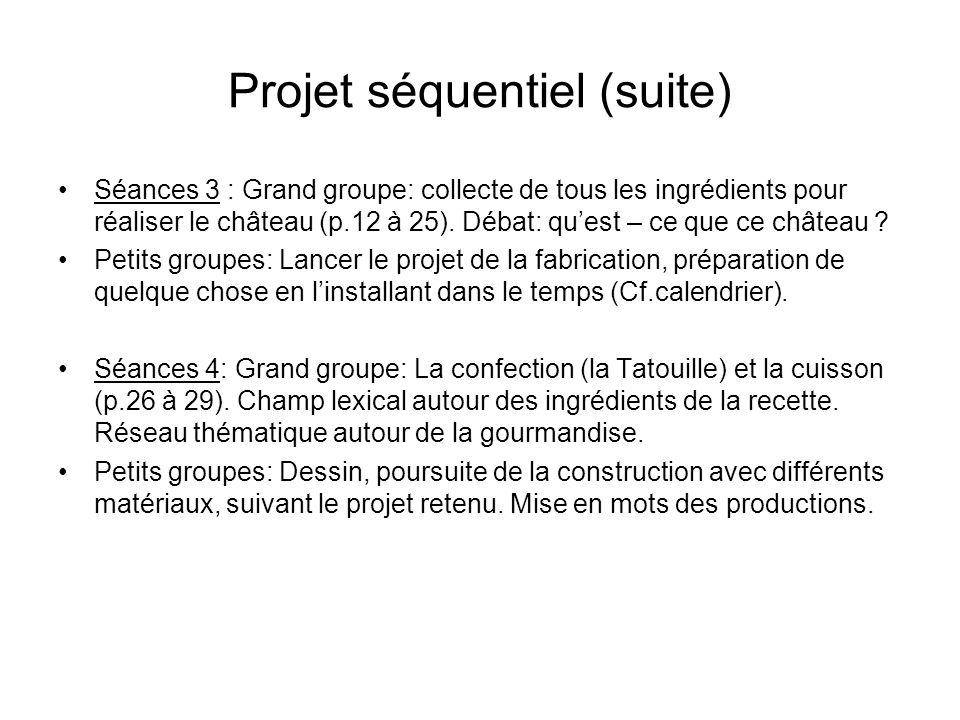 Projet séquentiel (suite) Séances 3 : Grand groupe: collecte de tous les ingrédients pour réaliser le château (p.12 à 25). Débat: quest – ce que ce ch