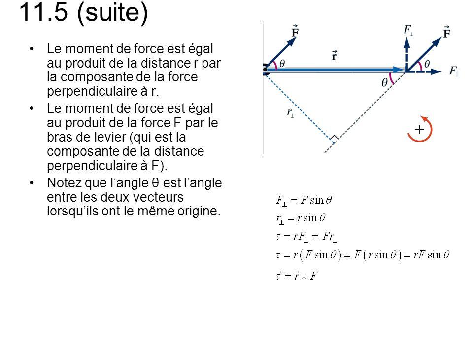 11.5 (suite) Le moment de force est égal au produit de la distance r par la composante de la force perpendiculaire à r.