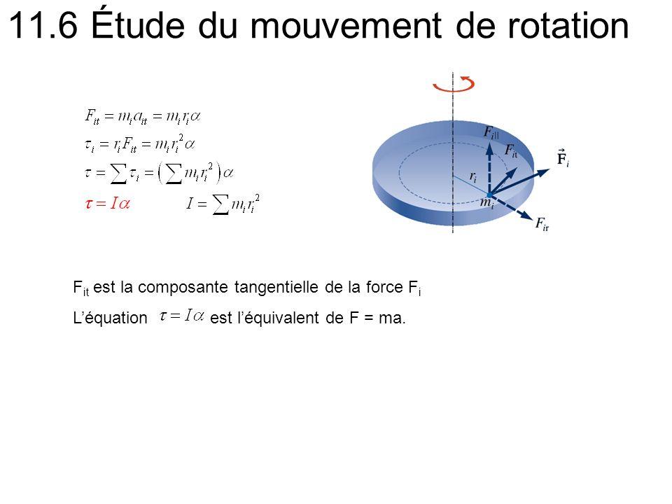 11.6 Étude du mouvement de rotation F it est la composante tangentielle de la force F i Léquation est léquivalent de F = ma.