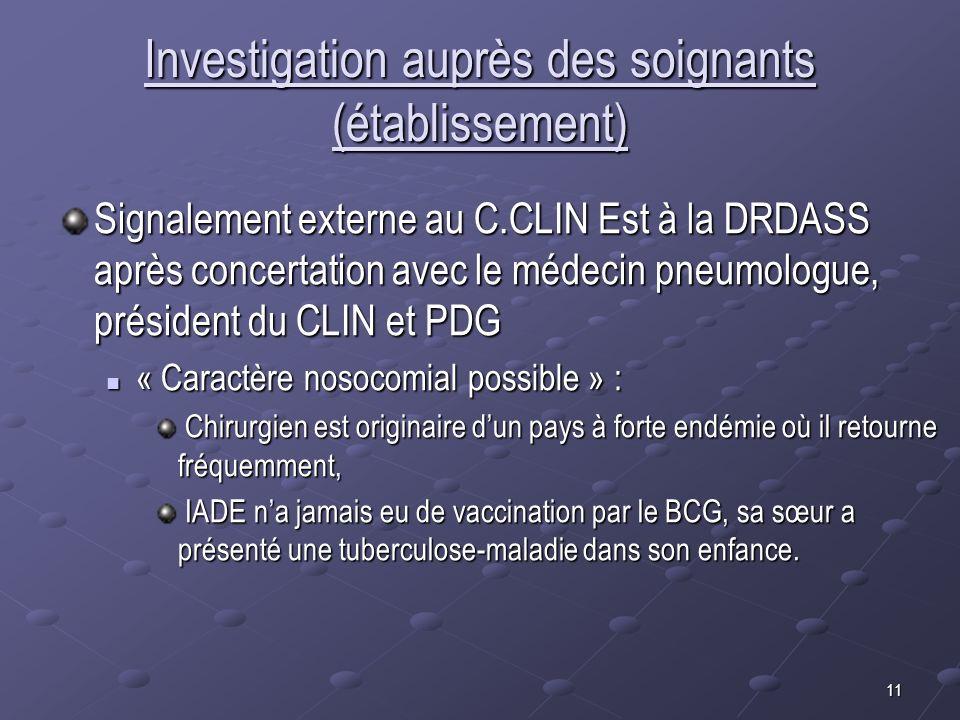 11 Investigation auprès des soignants (établissement) Signalement externe au C.CLIN Est à la DRDASS après concertation avec le médecin pneumologue, pr