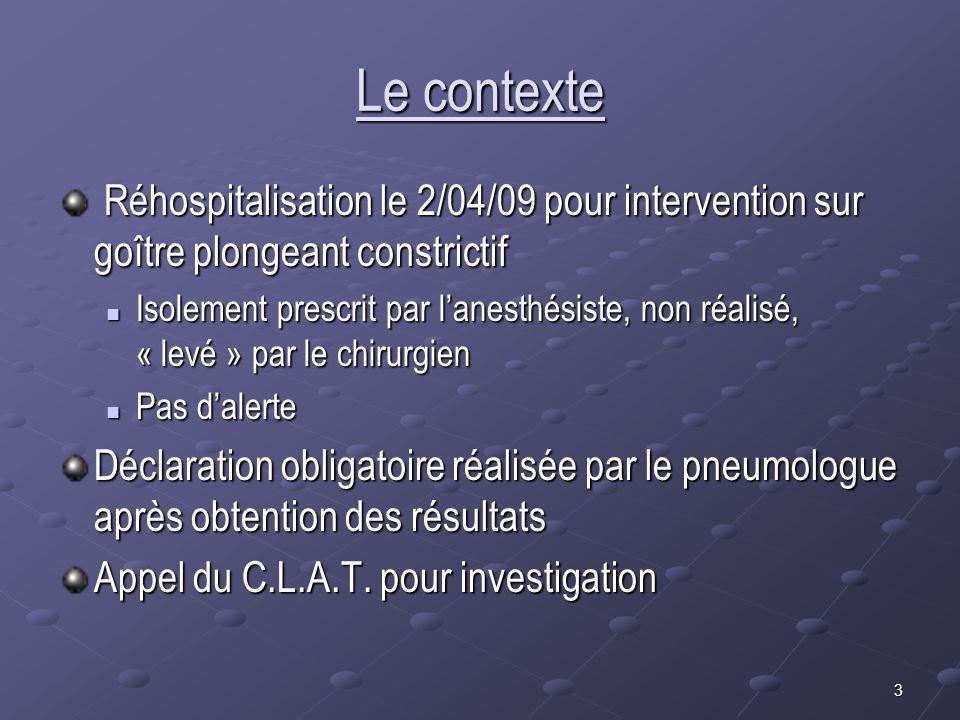 3 Le contexte Réhospitalisation le 2/04/09 pour intervention sur goître plongeant constrictif Réhospitalisation le 2/04/09 pour intervention sur goîtr