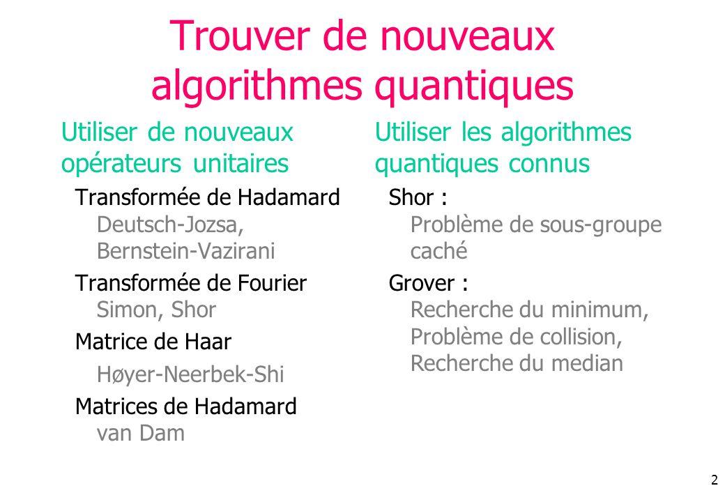 2 Utiliser les algorithmes quantiques connus Shor : Problème de sous-groupe caché Grover : Recherche du minimum, Problème de collision, Recherche du m