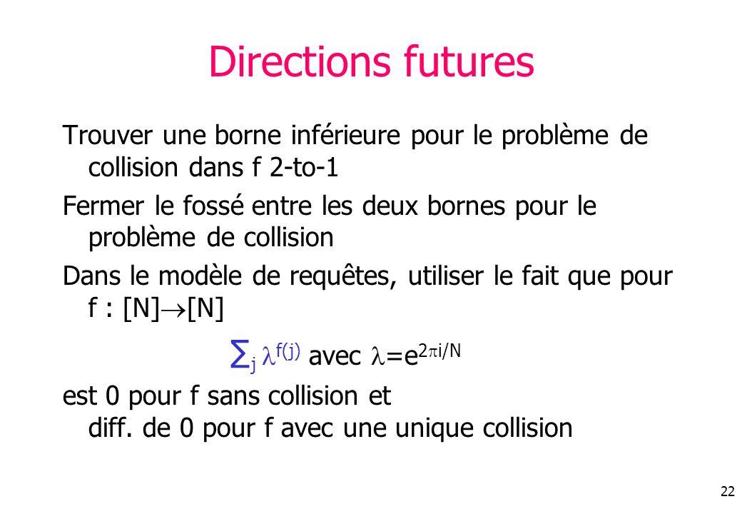 22 Directions futures Trouver une borne inférieure pour le problème de collision dans f 2-to-1 Fermer le fossé entre les deux bornes pour le problème de collision Dans le modèle de requêtes, utiliser le fait que pour f : [N] [N] j f(j) avec =e 2 i/N est 0 pour f sans collision et diff.
