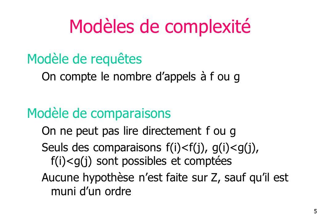 5 Modèles de complexité Modèle de requêtes On compte le nombre dappels à f ou g Modèle de comparaisons On ne peut pas lire directement f ou g Seuls des comparaisons f(i)<f(j), g(i)<g(j), f(i)<g(j) sont possibles et comptées Aucune hypothèse nest faite sur Z, sauf quil est muni dun ordre