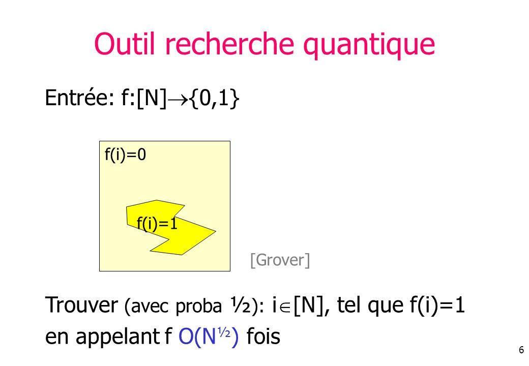 6 Entrée: f:[N] {0,1} Outil recherche quantique Trouver (avec proba ½ ): i [N], tel que f(i)=1 en appelant f O(N ½ ) fois f(i)=0 f(i)=1 [Grover]